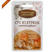 Деревенские Лакомства Суп из курицы с креветкой и гребешком