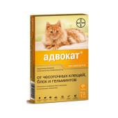 Адвокат® капли на холку для кошек от чесоточных клещей, блох и гельминтов  (цена за 1 пипетку)